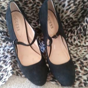 Guess black suede heels